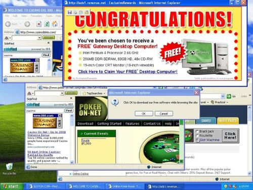 Máy tính bị nhiễm virus khiến các cửa sổ pop up hiện liên tục trên màn hình.